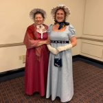 Mom and me at Romancing Williamsburg 2019, in our Regency gowns and poke bonnets
