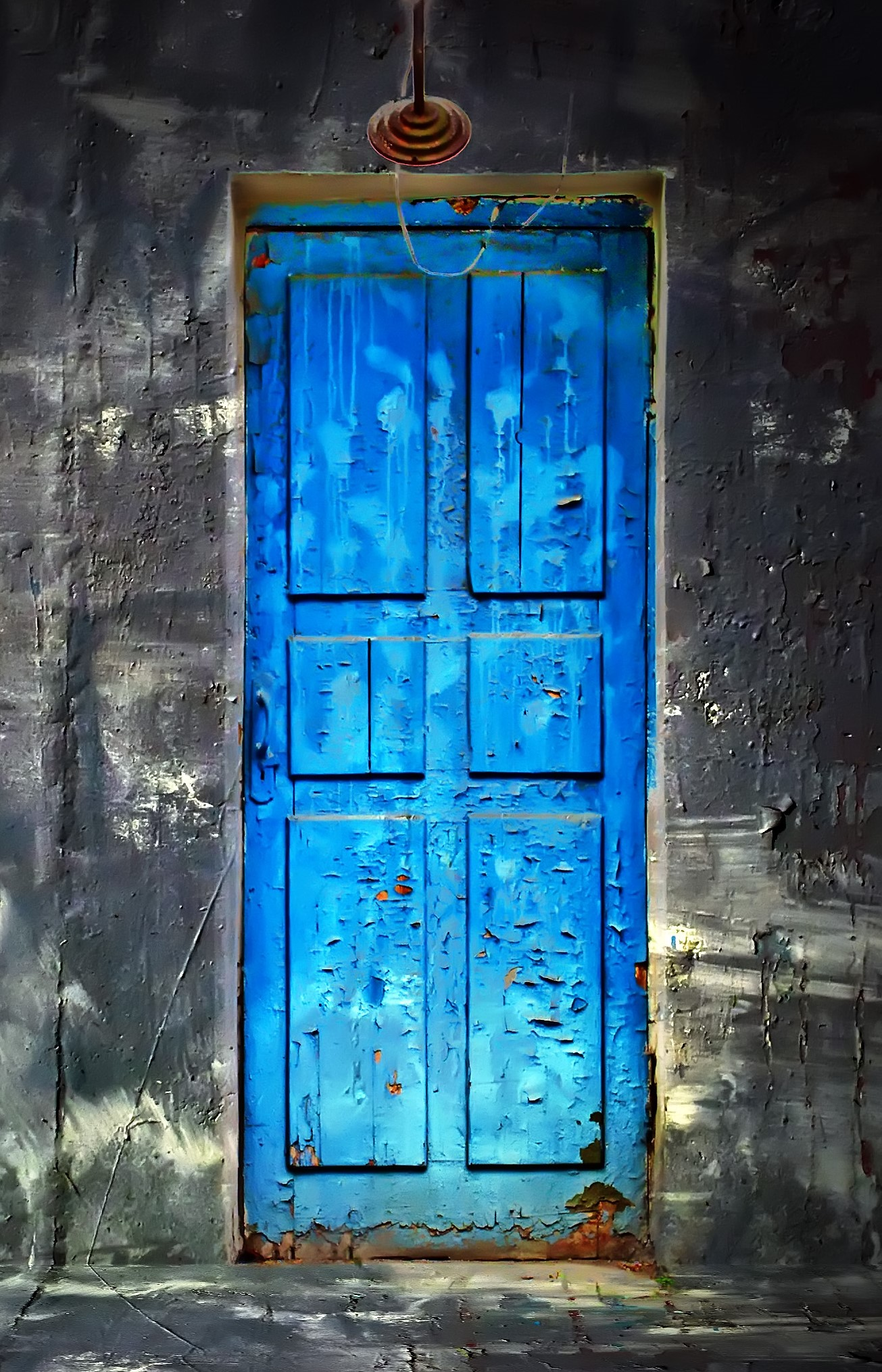 Heather Mccollum 187 Dark Vintage Room With Blue Wooden Door